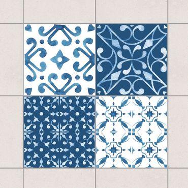 Fliesenaufkleber - Aquarell Muster Blau Weiß No.3