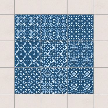 Fliesenaufkleber - Dunkelblau Weiß Muster Serie