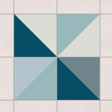 Fliesenaufkleber - Blaues Dreieck Muster Set