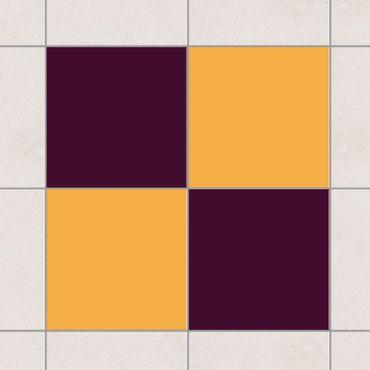 Fliesenaufkleber - Farbset Aubergine Gelb