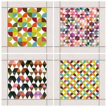 Fliesenaufkleber - Geometrischer Mustermix