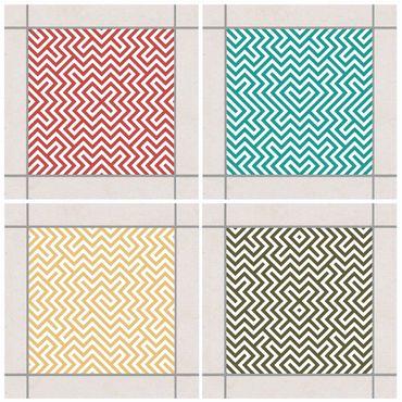 Fliesenaufkleber - Geometrisches Design Farbset