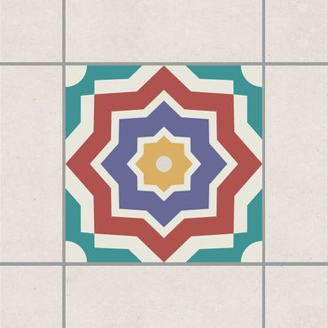 Fliesenaufkleber - Marokkanische Fliese Sternmuster Bunt