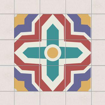 Fliesenaufkleber - Marokkanische Fliesen Kreuz Ornament