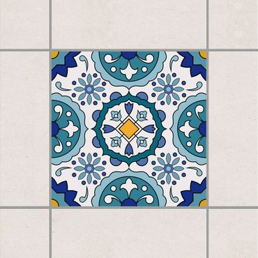 Fliesenaufkleber - Portugiesische Azulejo Fliese Türkis