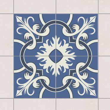Fliesenaufkleber - Spanischer Fliesenspiegel aus 4 Fliesen blau