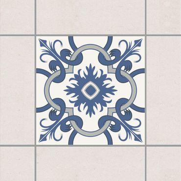 Fliesenaufkleber - Spanischer Fliesenspiegel crème blau