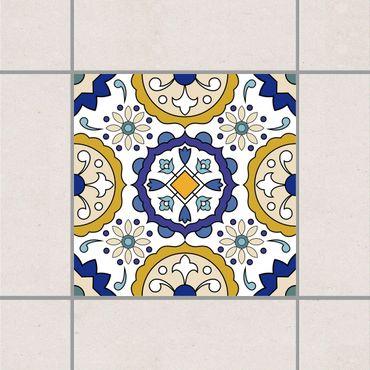 Fliesenaufkleber - Spanisches Blumenornament Gold Blau