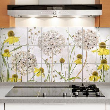 Fliesenbild - Allium und Helenium Illustration