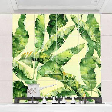 Fliesenbild - Bananenblätter Aquarell