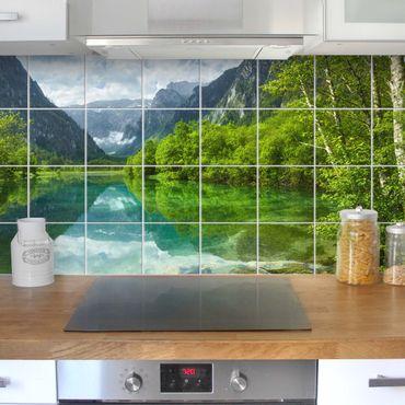 Fliesenbild - Bergsee mit Spiegelung
