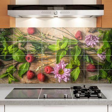 Fliesenbild - Blumen Himbeeren Minze