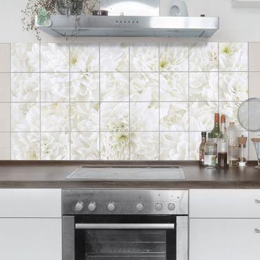 Fliesenbild - Dahlien Blumenmeer weiß