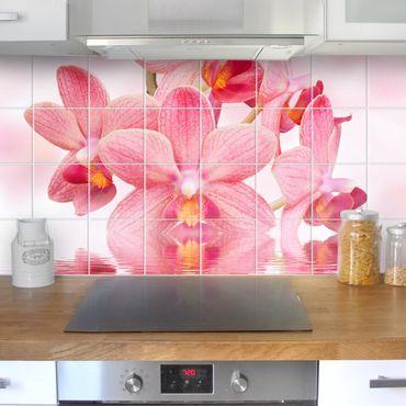 Fliesenbild - Floral Rosa Orchideen auf Wasser