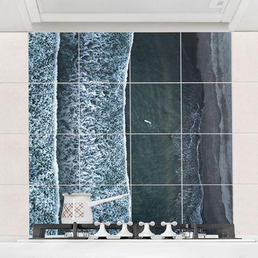 Fliesenbild - Luftbild - Der Herausforderer - Fliesensticker Set quadratisch