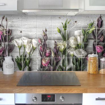 Fliesenbild - Tulpen-Rose Shabby Holzoptik
