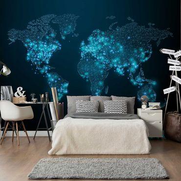 Fototapete Connected World Weltkarte