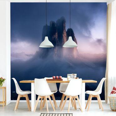 Fototapete - Drei Zinnen in blauem Licht