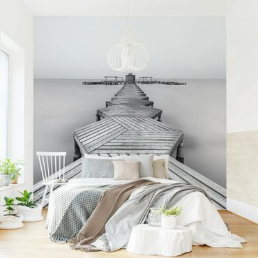 Fototapete - Hölzerner Pier und Schwarz-weiß