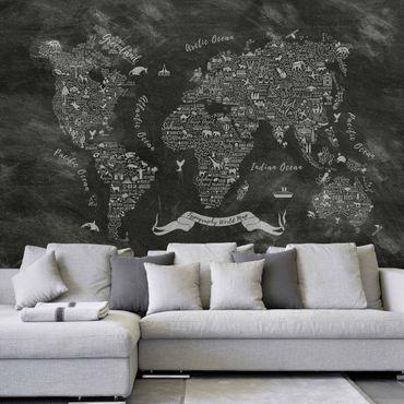 Fototapete Kreide Typografie Weltkarte