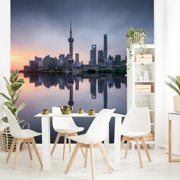 Fototapete - Shanghai Skyline Morgenstimmung