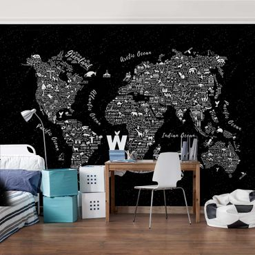 Fototapete Typografie Weltkarte schwarz