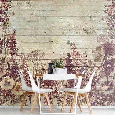 Fototapete Vintage Blumen Holzoptik