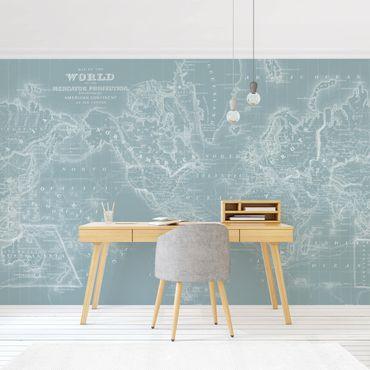 Fototapete - Weltkarte in Eisblau