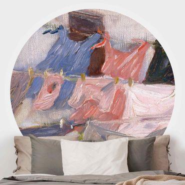 Runde Tapete selbstklebend - Franz Marc - Flatternde Wäsche