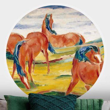 Runde Tapete selbstklebend - Franz Marc - Weidende Pferde