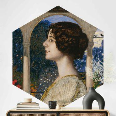 Hexagon Mustertapete selbstklebend - Franz von Stuck - Weibliches Portrait