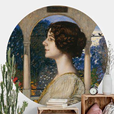 Runde Tapete selbstklebend - Franz von Stuck - Weibliches Portrait