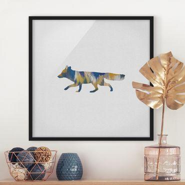 Bild mit Rahmen - Fuchs in Blau und Gelb - Quadrat