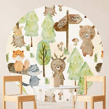 Runde Tapete selbstklebend - Fuchs und Bär mit Bäumen
