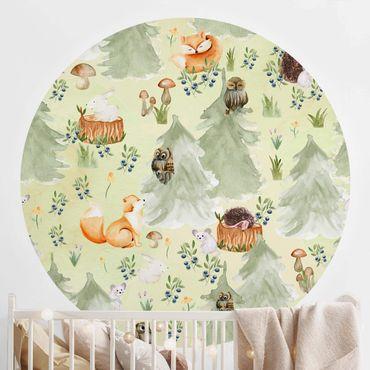 Runde Tapete selbstklebend - Fuchs und Eule mit Bäumen