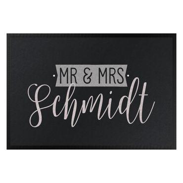 Fußmatte + Name - Mr und Mrs Wunschtext kursiv