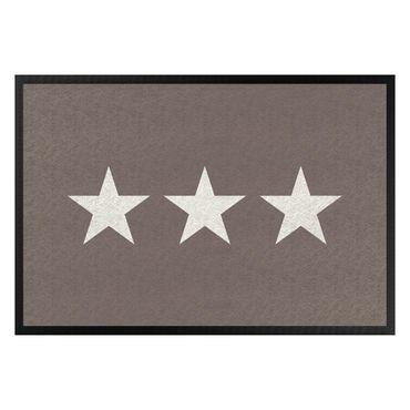 Fußmatte - Drei Sterne graubraun weiß