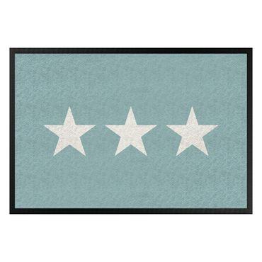 Fußmatte - Drei Sterne türkisgrau