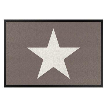 Fußmatte - Stern in graubraun weiß