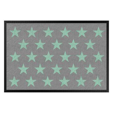 Fußmatte - Sterne versetzt grau mint