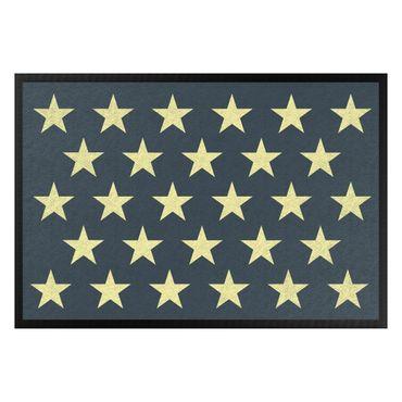 Fußmatte - Sterne versetzt petrol gelb