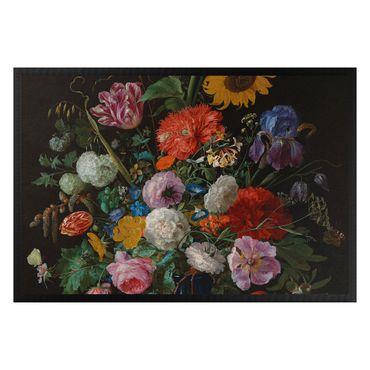 Fußmatte - Jan Davidsz de Heem - Tulpen, eine Sonnenblume, eine Iris und andere Blumen in einer Glasvase auf dem Marmorsockel einer Säule
