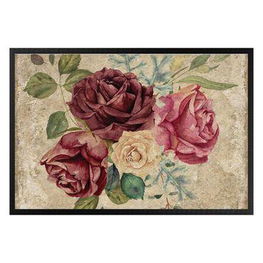 Fußmatte - Vintage Rosen und Hortensien