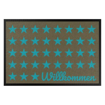 Fußmatte - Willkommen Sterne braun türkisblau