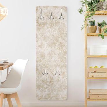 Garderobe - Antiker Damast - Weiß Beige