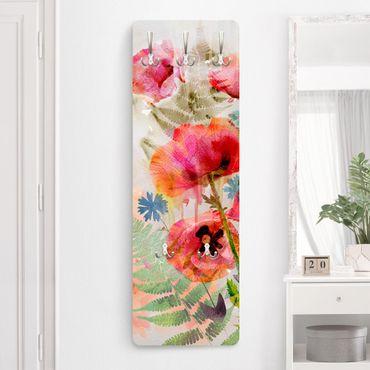 Garderobe - Aquarell Blumen Mohn