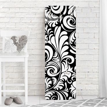Garderobe - Black and White Leaves Pattern - Schwarz