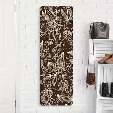 Garderobe Blumen - Art Nouveau Monochrome - Braun