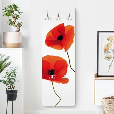 Garderobe Blumen - Charming Poppies - Weiß Rot