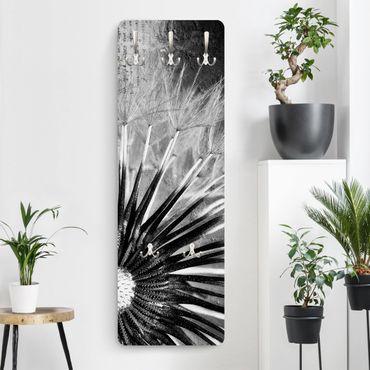 Garderobe Blumen - Pusteblume Schwarz & Weiß - Schwarz